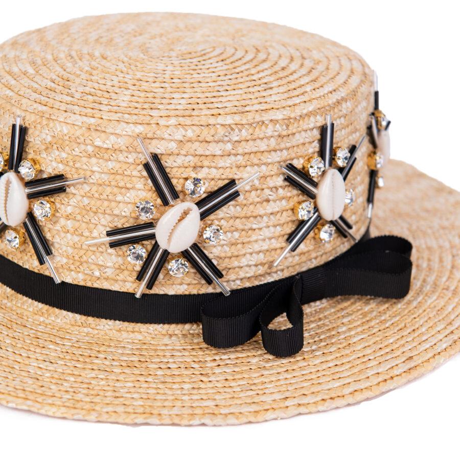 CAROL STARSHELLS BLACK BOATER HAT