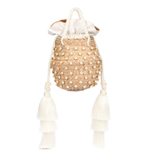 CAROL TASSEL CRYSTAL CREAM WHITE OPAL